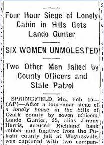 A newspaper clipping from Lando Gunter's arrest