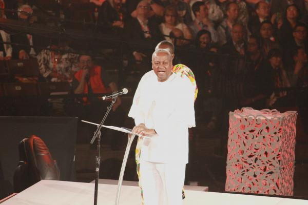 President John Dramani Mahama of Ghana spoke at JQH Arena on Thursday night.