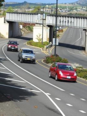 Travel lanes merge at the north end of Ashland's road diet
