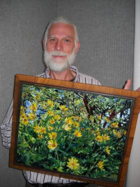 John Sollinger took 240 hours making this 16 x 20 glass mosaic.