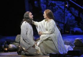 Yeshua (Nathan Gunn), with Mary Magdalene (Sasha Cooke)