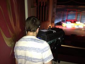 "Senior Logan Ryan behind the spotlight at an rehearsal of ""Bye Bye Birdie"" at Redding's University Preparatory School."