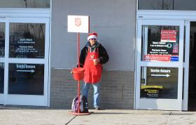Salvation Army bell ringer from a recent year.
