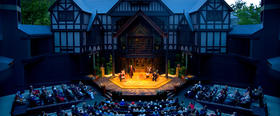 "The Allen Elizabethan Theatre at the Oregon Shakespeare Festival, Ashland.  OSF is part of the ""World of Work"" program."