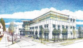 Conceptual drawing of a planned 42,000-square-foot police station designed by Mackenzie Group, 2013.