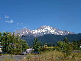 Mt. Shasta in summer.  It is NOT supposed to look like this in winter.