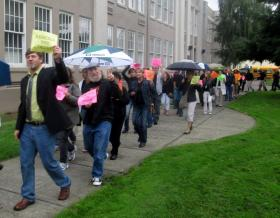 A rally in support of Medford teachers in September 2013.
