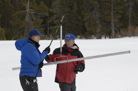 A snow survey in the Sierra, 2008.  That's Frank Gehrke on the right.