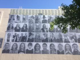Just a few of the Inside Out portraits, on the wall of the Cascade Theatre in Redding