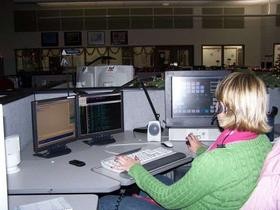 A dispatcher at work for Oregon State Police.