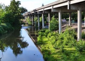 Bear Creek and the I-5 viaduct in Medford.