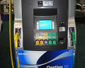 A biofuels pump dispenses 5 different blends of fuel at the 2010 Washington Auto Show