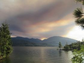 The Bully Fire shortly after starting Friday afternoon, as seen to the west of Whiskeytown Lake.