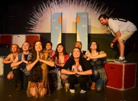 "The ""Godspell"" cast in rehearsal."