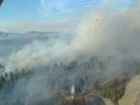 An aerial view of the Moccasin Hill fire on Sunday.