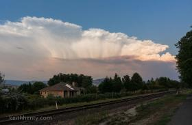 The plume from the Oregon Gulch Fire, seen from miles away in Ashland.