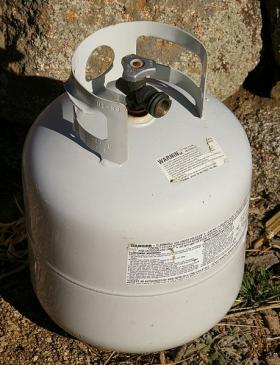 Police say the homemade explosive device used a small propane tank similar to this one.