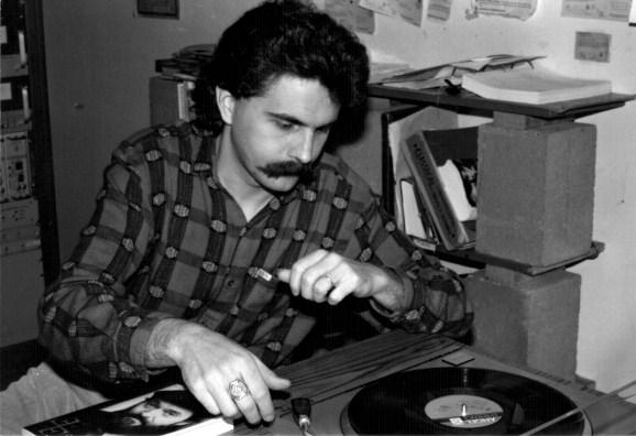 John Baxter, JPR Program Director from 1979–1997, cues some old school vinyl around 1984.