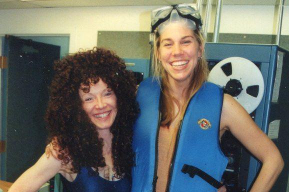 "Colleen Pyke (left) and Maria Kelly (right) during a fund drive ""theme"" day (no one can remember what the theme was)."