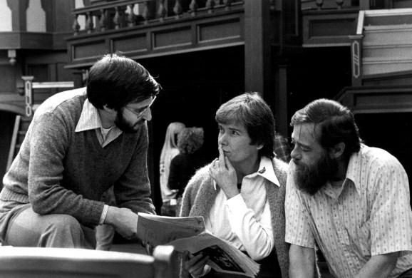 "A promotional photo of a rehearsal for JPR's live national broadcast from the Oregon Shakespeare Festival's 1978 opening night performance of ""Taming of the Shrew.""  Director Ron Kramer (left) goes over scripts with co-hosts Peggy Rubin and Tom Sheldon."