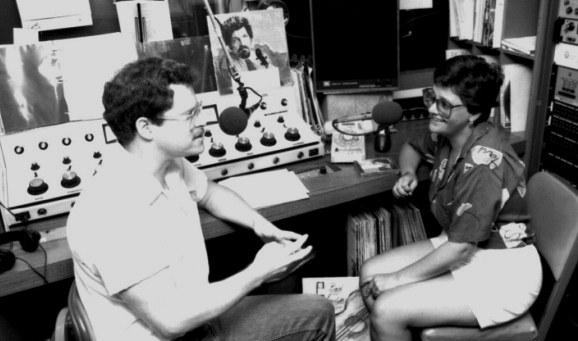 First Concert host, Pat Daly, chats with then JPR News Director, Annie Hoy, around 1989.