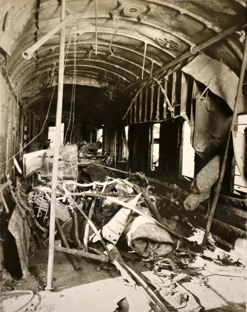 The DeAutremonts had come prepared with a large charge of dynamite, ultimately using it to blow apart the mail coach, shown here.