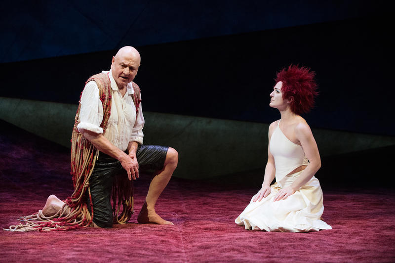 "Denis Arndt as Prospero and Kate Hurster as Ariel in ""The Tempest."""