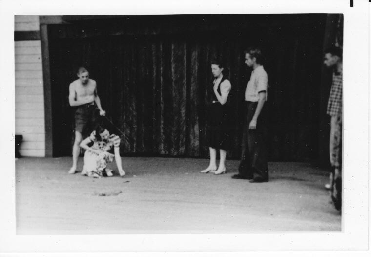 "Angus Bowmer as Hamlet, Dorothy Pruitt as Ophelia, Grace Forsythe as Queen Gertrude, Harry Priestly as Laertes, and unknown actor.  Rehearsal of the 1938 production of ""Hamlet."