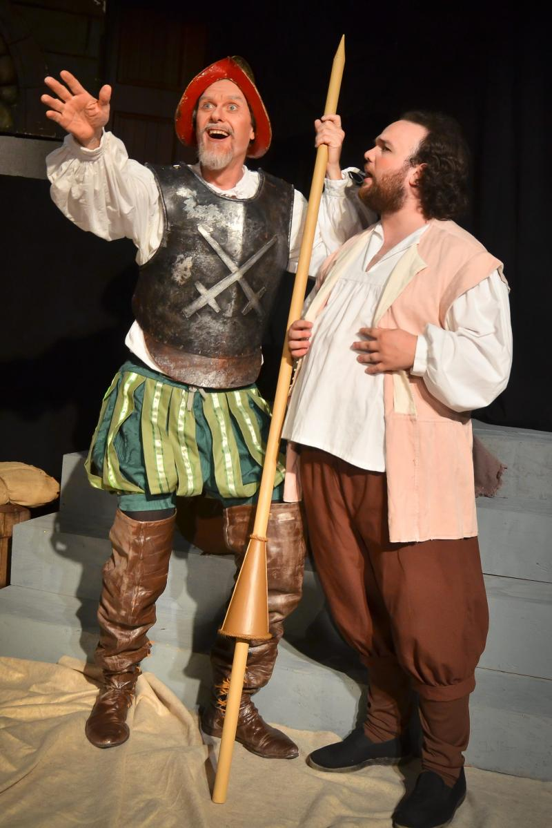 "Randall Theatre's production of ""Man of La Mancha"" featured Don Matthews (left) as Don Quixote and Jon Oles (right) as Sancho."