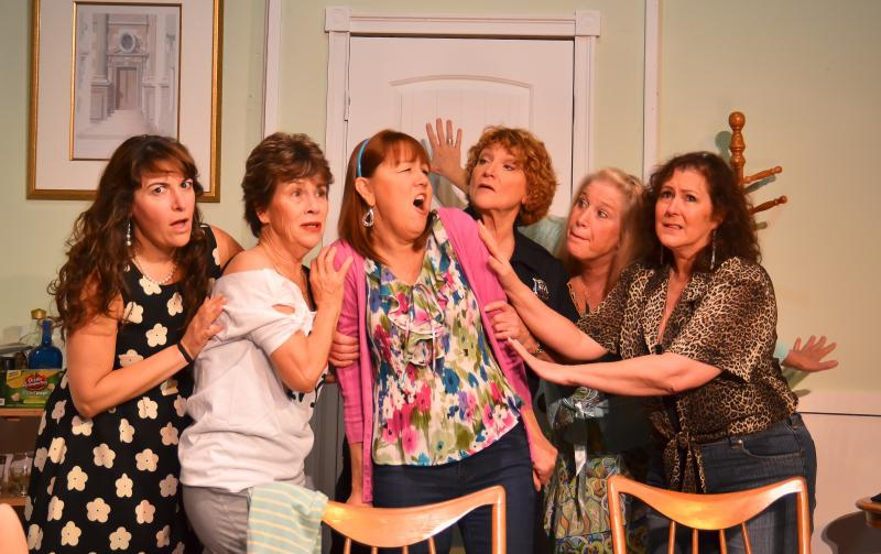 Randall Theatre's production of The Odd Couple - featuring (left to right), Victoria Simone Stewart as Sylvie, Linda Otto as Olive Madison, Robyn Duquesne Fichter as Florence Ungar, Pam Ward as Mickey, Tina Astor as Vera and Becky Durango as Renee.
