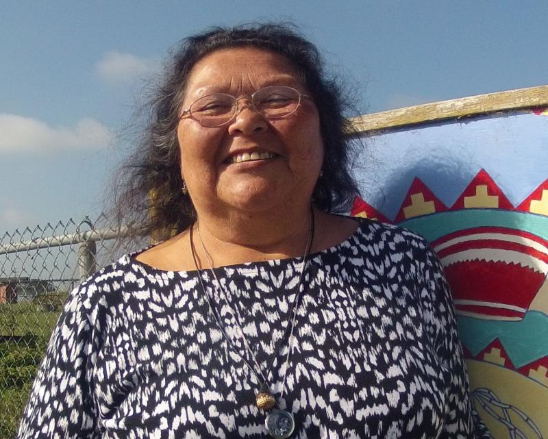 Cheryl Seidner, Wiyot elder and councilwoman, stands near the Wiyot Center in Loleta, California.