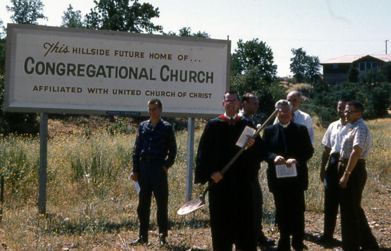 Members of the Pilgrim Congregational Church in Redding breaking ground on their Frank Lloyd Wright-designed church in 1960