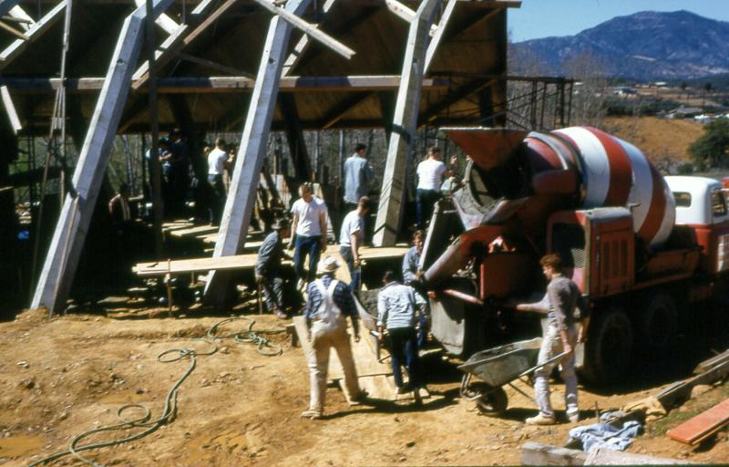 Work crews pouring concrete while building the Pilgrim Congregational Church in Redding, circa 1960