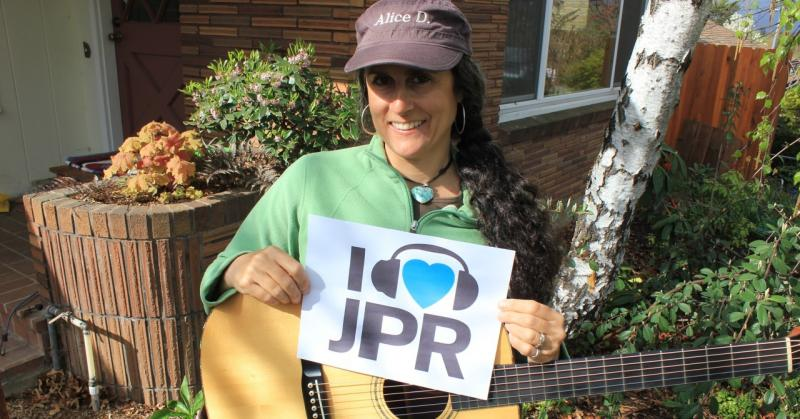 Rogue Valley singer-songwriter Alice DiMicele shows some love for JPR on the first day of the Spring Fund Drive.  Alice has been a JPR member since 1991.