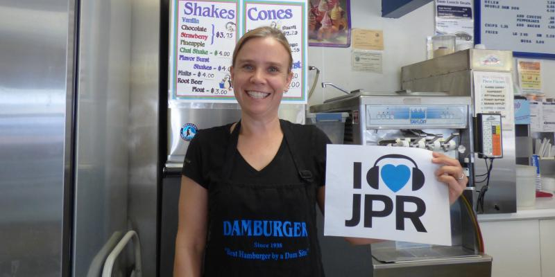 The gals at Damburger in downtown Redding flip a mean burger ... they also flip over JPR!