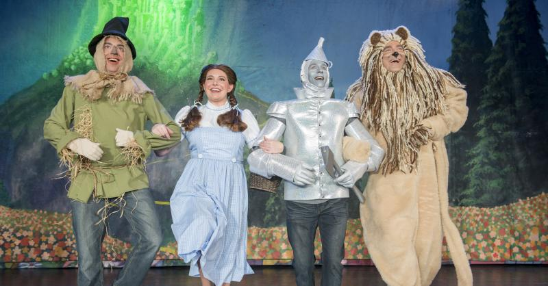 The Scarecrow (Brian Bisetti), Dorothy (Jana Leard), the Tinman (Ryan Nemanic) and the Cowardly Lion (Matthew Goodman), from the Cascade Theatre's current production of The Wizard of Oz.