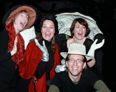 "Ashland Community Theatre's production of ""Seven Shorts By Durang"", March 2014. Left to right Judith Rosen, Jeannine Grizzard, David DeMoss, Vanessa Hopkins."