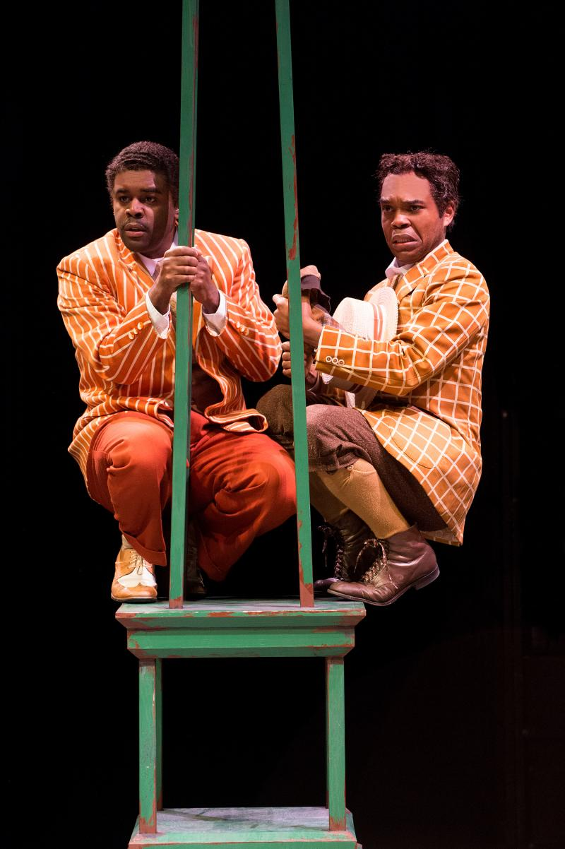 A Comedy of Errors | Antipholus of Louisiana (Tobie Windham) and his Dromio (Rodney Gardiner) try to hide from the strange goings-on in Harlem.
