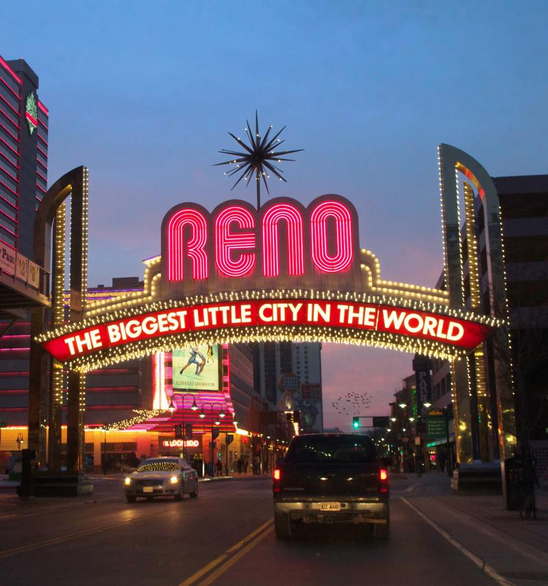 Reno, The Biggest Little City (Neon sign shot): Reno's tag line is the Biggest Little City in the World. Neon lights, strip clubs, and casinos vie for visitors alongside foodie restaurants, a world famous climbing wall, and a thriving art and music scene.