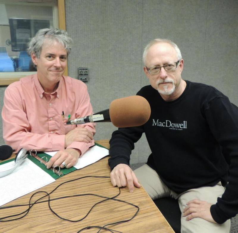 Geoffrey Riley with guest and Pulitzer Prize winning playwright/screenwriter Robert Schenkken in JPR's Studio C. For the record, Mr. Schenkken did NOT cancel, was NOT late, and was a joy to work with.