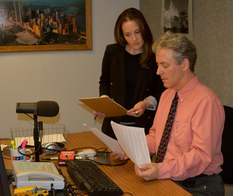 Preparing for the morning, Jefferson Exchange Producer Charlotte Duren and Host Geoffrey Riley go over last minute details before the red light goes on and there's no turning back.