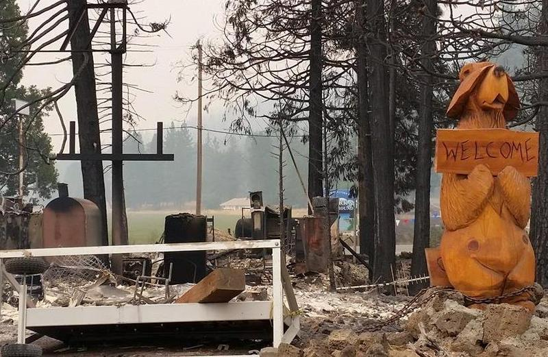 Fireside Village, Hat Creek's only restaurant, burned over the weekend, along with numerous residences.