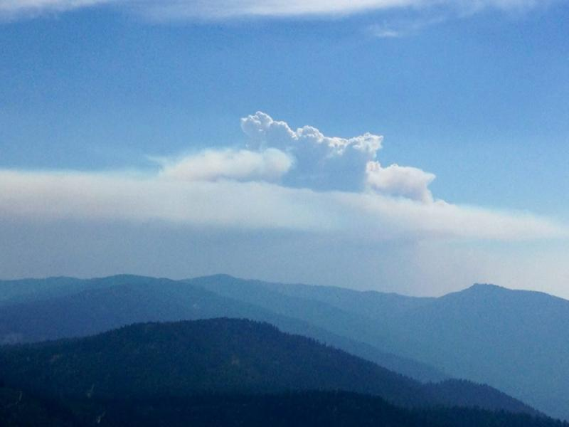 Happy Camp Complex plume, as seen from fire lookout on Thursday 8/28