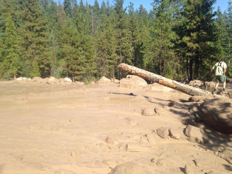 Mud and debris flowing down the southeast side of Mt Shasta Saturday