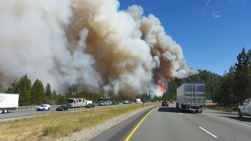 The Boles Fire as seen from I-5 Monday afternoon