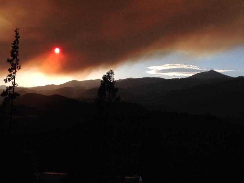 Smoke from the Happy Camp Fire as seen from I-5 near the Siskiyou Summit