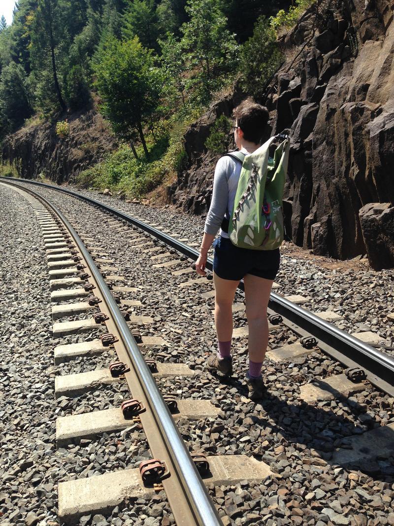 A Hiker Trespasses on Tracks