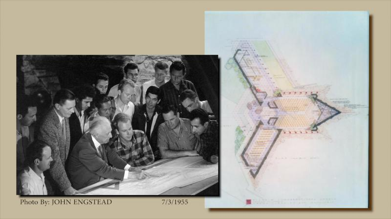 Frank Lloyd Wright with interns, circa 1955, plus plans for the Pilgrim Congregational Church
