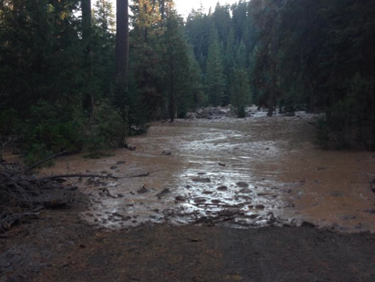 Mud and debris from Mud Creek covers Forest Service Road 31 on the southeast side of Mt Shasta.