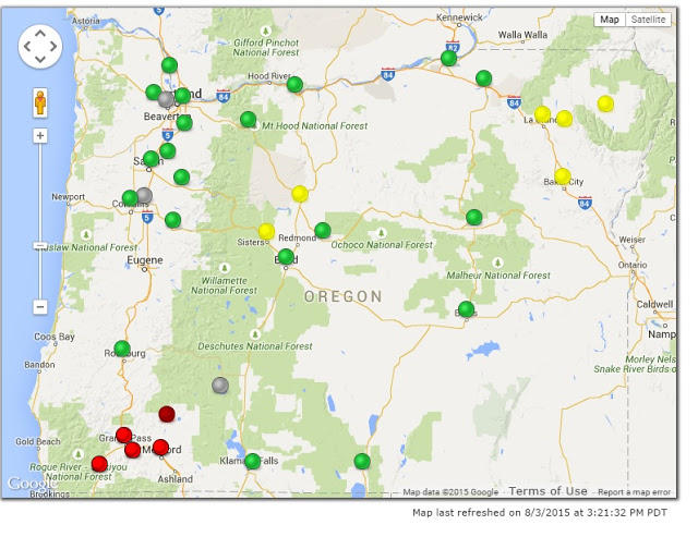 Regional Air Quality Remains Compromised But Worst Near Big Fires